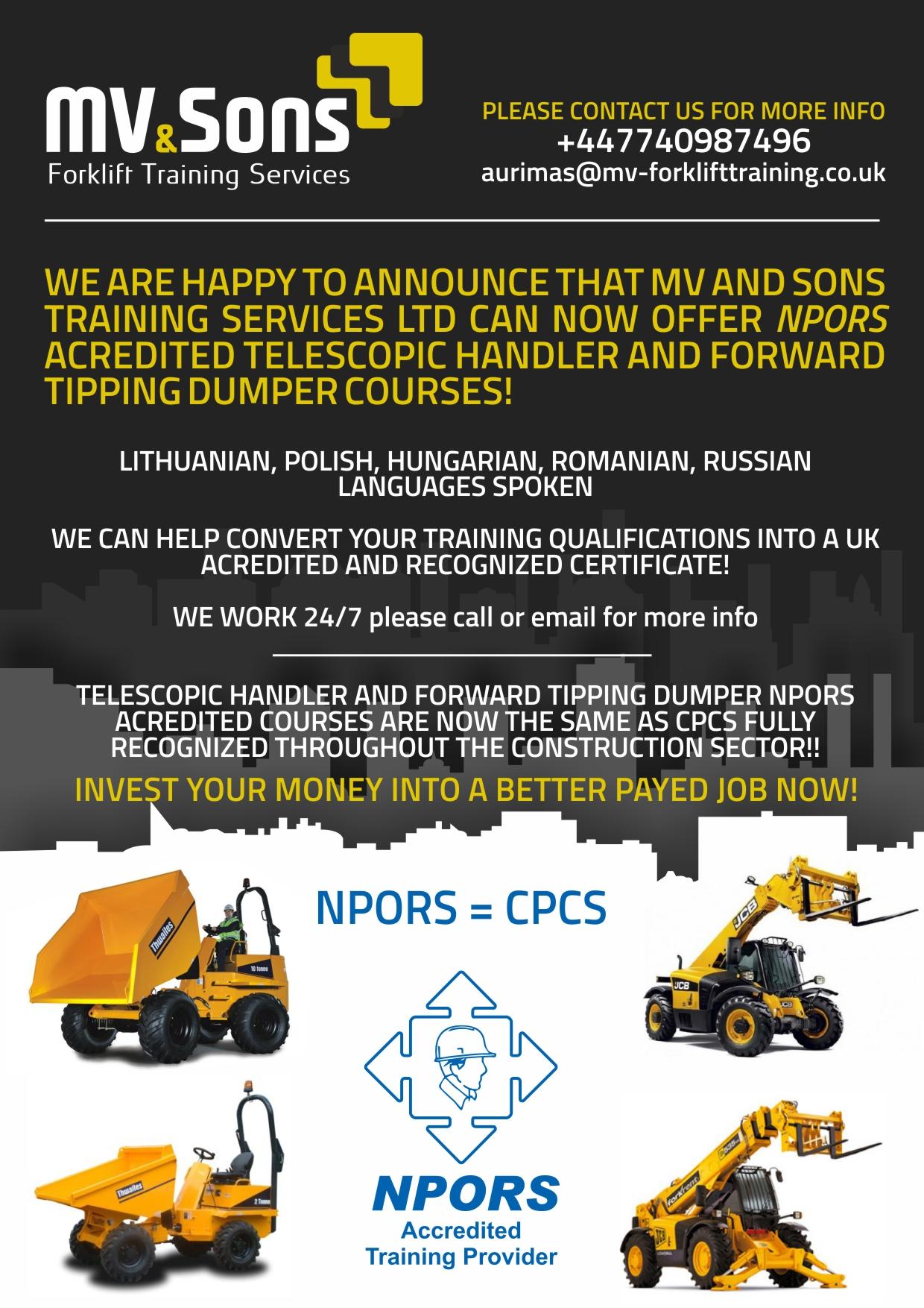 Mv Sons Forklift Training Services Ltd Forklift Driver Training